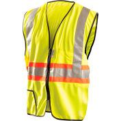 OccuNomix Premium Solid Two-Tone Expandable Zip Vest, Class 2, Hi-Vis Yellow, 2XL, LUX-SSG2TZ-Y2X