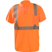 Occunomix LUX-SSPP2B-O3X Birdseye Polo, Wicking & Cooling, Short Sleeve, Class 2, Orange, 3XL