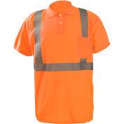 Occunomix LUX-SSPP2B-O3X Birdseye Polo, Wicking & Cooling, Short Sleeve, Class 2, Orange, 3XL