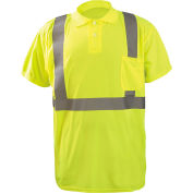 Occunomix LUX-SSPP2B-Y2X Birdseye Polo, Wicking & Cooling, Short Sleeve, Class 2, Yellow, 2XL