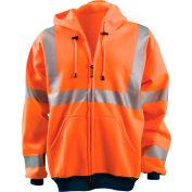 OccuNomix Hi-Vis Premium Wicking Hoodie, Class 3, Hi-Vis Orange, 2XL, LUX-SWT3HZ-O2X
