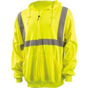OccuNomix Zip Down Lightweight Hoodie, Class 2, Hi-Vis Yellow, ANSI, Class 2, XL, LUX-SWTLHZ-YXL