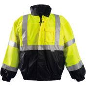 Premium Black Bottom Bomber Jacket, Hi-Vis Yellow, L
