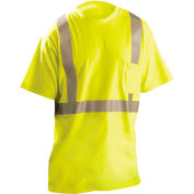 OccuNomix Flame Resistant Short Sleeve T-Shirt, Class 2, ANSI, Hi-Vis Yellow, M, LUX-TP2/FR-YM