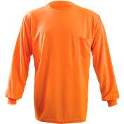 OccuNomix Long Sleeve Wicking Birdseye T-Shirt With Pocket Hi-Vis Orange L, LUX-XLSPB-OL