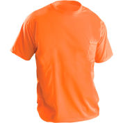 Short Sleeve Wicking Birdseye T-Shirt With Pocket Hi-Vis Orange L