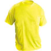 OccuNomix Short Sleeve Wicking Birdseye T-Shirt With Pocket Hi-Vis Yellow XL, LUX-XSSPB-YXL