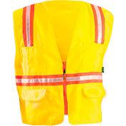 Classic Mesh Two-Tone Zip Vest, Hi-Vis Yellow, XL