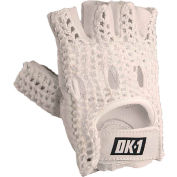 OccuNomix Classic Knuckle Lifters Half-finger Gloves, Full-Grain Leather, White, M, 1 Pair