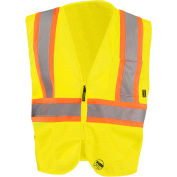 Occunomix TSE-IM2TZ-YS Self Extinguishing Standard Vest, Class 2, Two Tone, Yellow/Orange, S