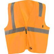 Occunomix Self-Extinguishing Standard Vest, Mesh, Class 2, Type R, Zipper, Orange, 2XL