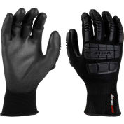Mad Grip Ergo Impact Glove, Black, Nitrile Palm, L, EIFBLKRL