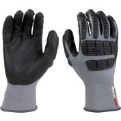 Mad Grip Ergo Impact Glove, Gray, Nitrile Palm, XL, EIFGBKRXL