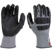 Mad Grip Ergo Impact Glove, Gray, Nitrile Palm, XL, EIFGBKRXL
