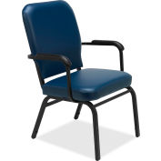 Lorell® Fixed Arms Vinyl Oversized Stack Chairs - Navy - 2/Pack