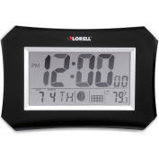 "Lorell Wall LCD Lunar Alarm Clock 10-1/4"" Wx 7"" H x 1-1/2""D Silver/Black"