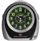 "Lorell Atomic Alarm Clock, 5-1/2"" x 2-3/4"" x 5-3/4"" Black"