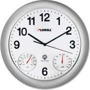"""Lorell Analog Temperature/Humidity Wall Clock 12"""" Silver"""
