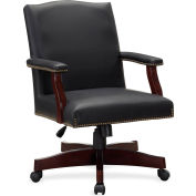 Lorell® Traditional Executive Bonded Leather Chair - Black