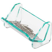 "Lorell® Paper Clip Holder 3-7/8"" x 2-1/2"" Transparent with Green Tint"