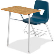 Lorell® Classroom Full-Top Student Combo Chair Desk - Medium Oak with Navy Seat