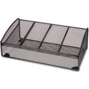 Lorell® Mesh Desk Valet, 4 Compartments, Black