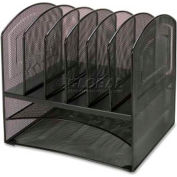 Lorell® Horizontal Vertical Mesh Desk Organizer, 8 Compartments, Black