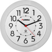 "Lorell® 9"" Round Radio Controlled Wall Clock, Plastic Case, White"
