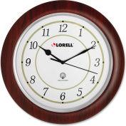 "Lorell® 13.5"" Round Radio Controlled Wall Clock, Wood Case, Mahogany"