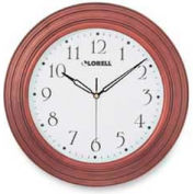 "Lorell® 13.3"" Round Quartz Wall Clock, Wood Case, Mahogany"
