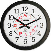 "Lorell® 14"" Round 12-24 Hour Wall Clock, Plastic Case, Black"