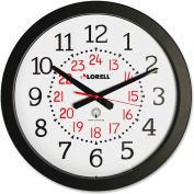 "Lorell® 14"" Round 12-24 Hour Wall Clock, Plastic Case, Black"