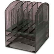 Lorell® Mesh Horizontal Vertical Desktop Organizer, 5 Compartments, Black