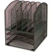 Lorell® Mesh Horizontal Vertical Desktop Organizer, 5 Compartments, Black