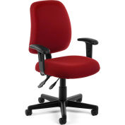 OFM Posture Series Swivel Task Chair with Arms, Fabric, Mid Back, Wine
