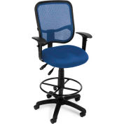 OFM Comfort Series Ergonomic Mesh Swivel Task Chair with Arms and Drafting Kit, Mid Back, Navy