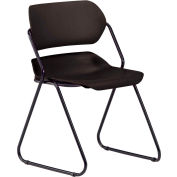 Armless Plastic Stacking Chair - Black - Black Frame - Pkg Qty 4