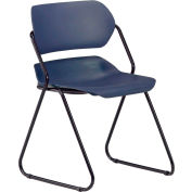 Armless Plastic Stacking Chair - Navy - Black Frame - Pkg Qty 4