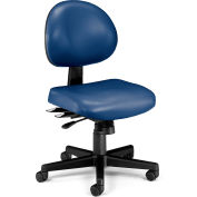 OFM 24 Hour Ergonomic Armless Task Chair, Anti-Microbial/Anti-Bacterial Vinyl, Mid Back, Navy