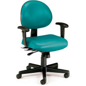 Vinyl 24 Hour Computer Task Chair with Arms - Teal