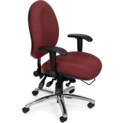 OFM 24 Hour Big and Tall Ergonomic Computer Swivel Task Chair with Arms, Fabric, Burgundy