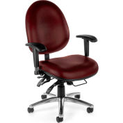 Vinyl 24 Hour Computer Task Chair Hi-back - Wine