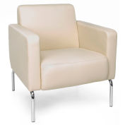 OFM Triumph Series Lounge Chair with Polyurethane Seat with Chrome Feet Cream