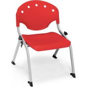 "OFM Rico 12""H Armless Stack Chair, Red - Pkg Qty 4"