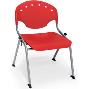"OFM Rico 16""H Armless Stack Chair, Red - Pkg Qty 4"