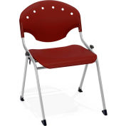 OFM Rico Stack Chair, Plastic, Burgundy - Pkg Qty 4