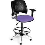 OFM Stars Fabric Swivel Stool with Arms & Drafting Kit, Lavender