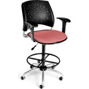 OFM Stars Fabric Swivel Stool with Arms & Drafting Kit, Coral Pink