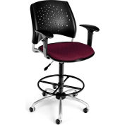 OFM Stars Fabric Swivel Stool with Arms & Drafting Kit, Burgundy