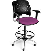 OFM Stars Fabric Swivel Stool with Arms & Drafting Kit, Plum
